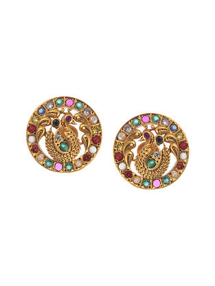 Multicolour Gold Plated Silver Earrings