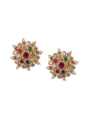 Navratan Gold Plated Silver Earrings with Pearls