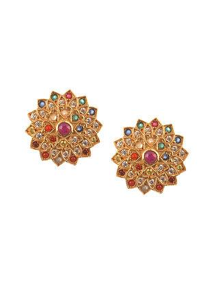 Navratan Gold Plated Silver Earrings