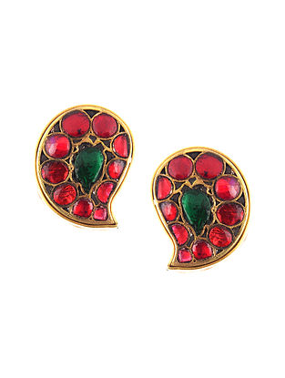 Red Green Gold Plated Kundan Silver Earrings
