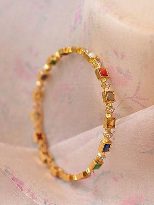 Navratan Gold Plated Silver Bangle (Size 2/5)