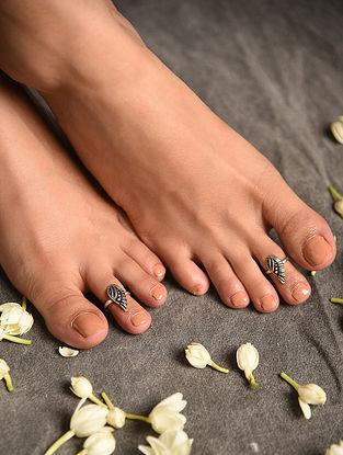 Silver Tone Tribal Toe Rings Set