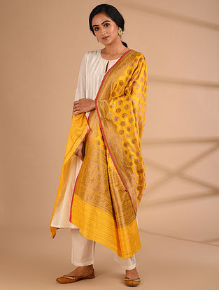 Yellow Benarasi Handloom  Silk Dupatta