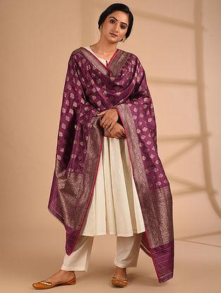 Purple Benarasi Handloom Silk Dupatta