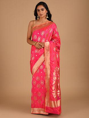 Pink Handloom Benarasi Silk  Saree