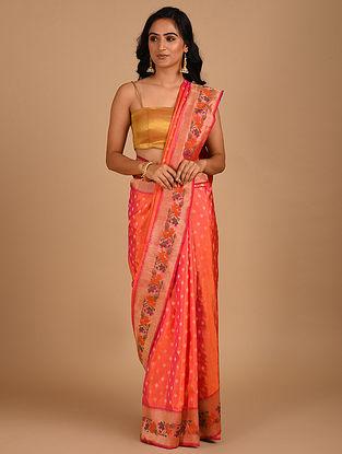 Orange Handloom Benarasi Silk  Saree