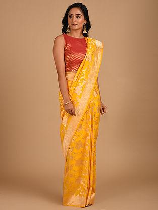 Yellow Handloom Benarasi Silk  Saree