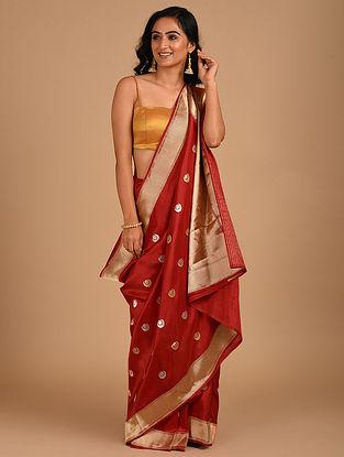 Maroon Handloom Benarasi Silk  Saree