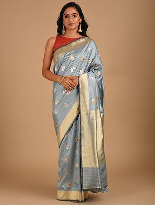 Grey Handloom Benarasi Silk  Saree