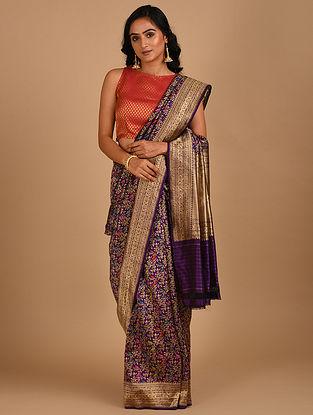 Purple Handloom Benarasi Silk  Saree