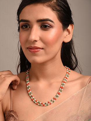 Orange Green Beaded Necklace with Coral Emerald and Pearls