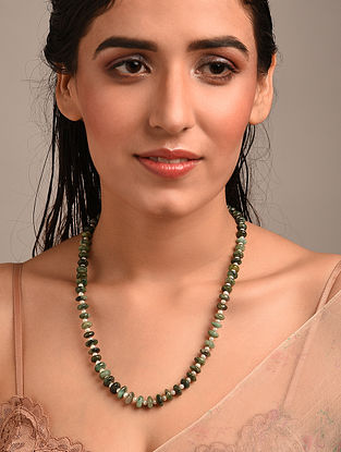 Green White Beaded Necklace with Emerald and Fresh water Pearls