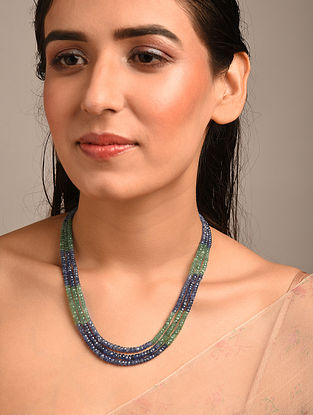 Green Blue Beaded Necklace with Emerald and Blue Sapphire
