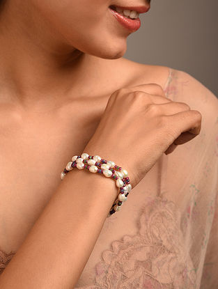 Red Blue Beaded Bracelet with Ruby Sapphire and Pearls