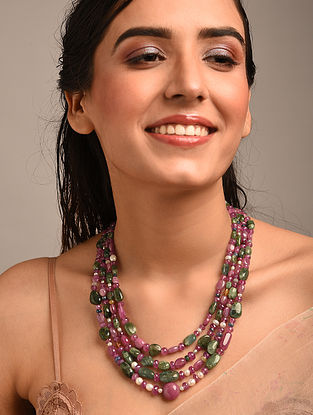 Multicolour Beaded Necklace with Ruby Emerald and Sapphire