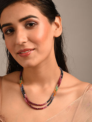 Multicolour Beaded Necklace with Rainbow Sapphire