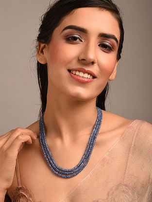Blue Beaded Necklace with Sapphire