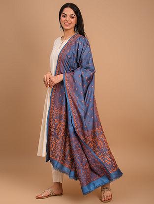 Blue Kantha Embroidered Tussar Dupatta