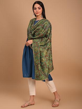 Green Kantha Embroidered Silk Dupatta