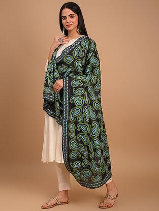 Black Kantha Embroidered Tussar Dupatta