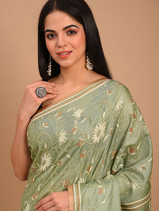 Green Kantha Embroidered Tussar Saree