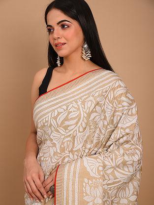 Beige Kantha Embroidered Tussar Saree