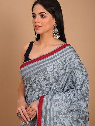 Grey Kantha Embroidered Tussar Saree