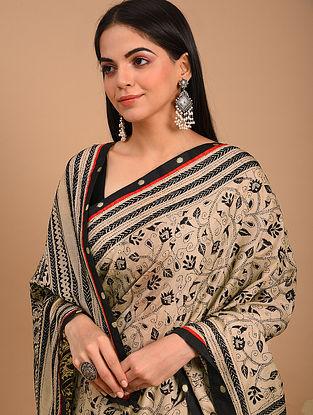 Brown Kantha Embroidered Tussar Saree