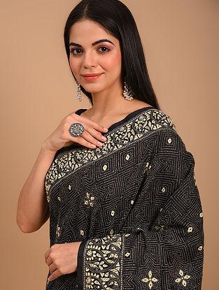 Black Kantha Embroidered Silk Saree