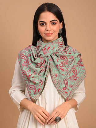 Green Kantha Embroidered Crepe Scarf