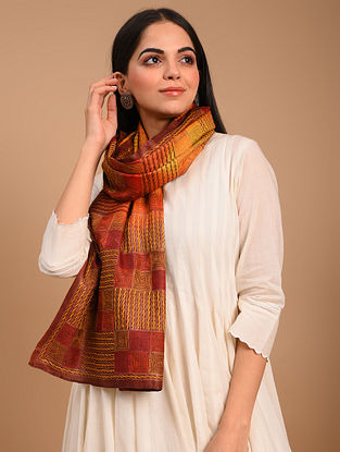 Multicolour Kantha Embroidered Tussar Scarf