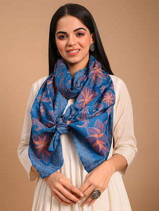 Blue Kantha Embroidered Tussar Scarf