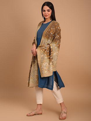 Brown Kantha Embroidered Chiffon Dupatta