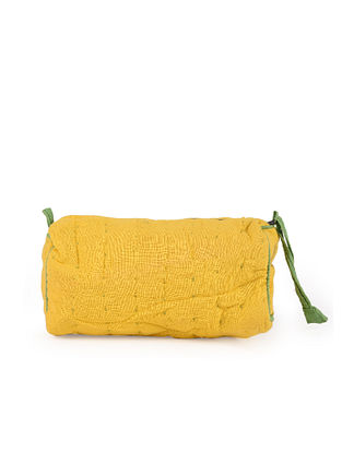 Yellow Handcrafted Kantha Work Cotton Pouch