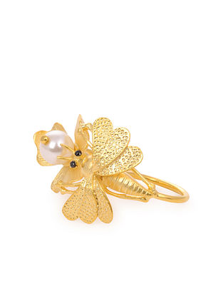 Gold Tone Handcrafted Adjustable Ring With Pearl