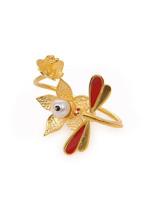Red Gold Tone Handcrafted Adjustable Ring With Pearl
