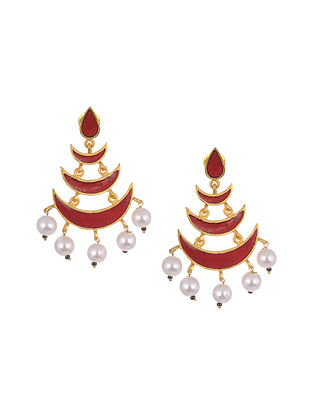 Red Gold Tone Enameled Earrings With Pearls