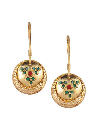Red Green Gold Tone Handcrafted Earrings