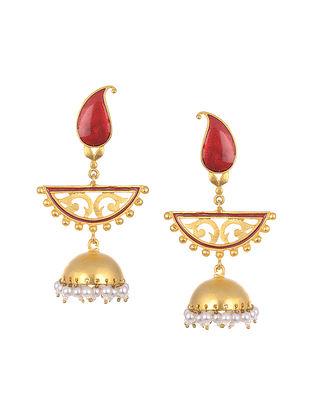 Red Gold Tone Enameled Jhumki  Earrings