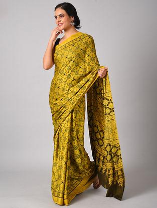 Yellow Ajrakh Modal Silk Saree