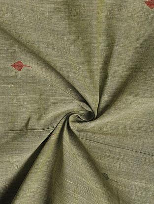 Green Handloom Handspun Natural Dyed  Jamdani Cotton Fabric