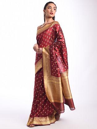 Maroon Benarasi Handwoven Silk Saree
