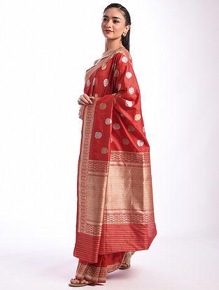 Red Benarasi Handwoven Silk Saree