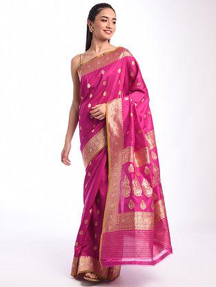 Pink Benarasi Handwoven Silk Saree