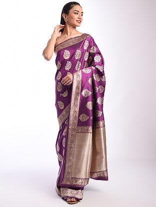 Purple Benarasi Handwoven Silk Saree