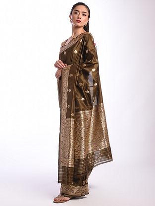 Brown Benarasi Handwoven Silk Saree