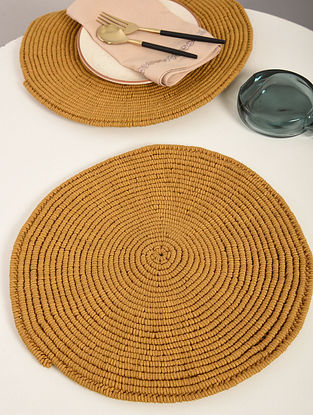 Mustard Yellow Cotton Spiral Hand-Knotted Placemat (Dia-14in) (Set of 2)