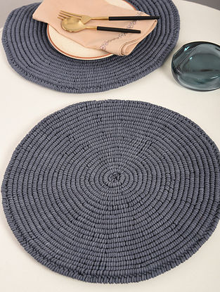 Dark Grey Cotton Spiral Hand-Knotted Placemat (Dia-14in) (Set of 2)