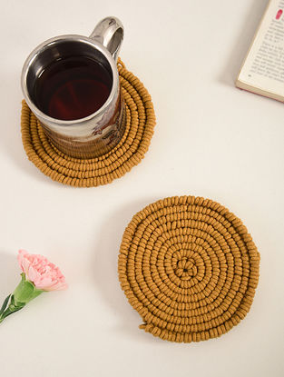 Mustard Yellow Cotton Meander Hand-Knotted Coaster (Dia-3in)