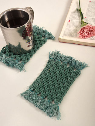 Green Cotton Classic Fringe Hand-Knotted Coaster (L-4in, W-3in) (Set of 2)
